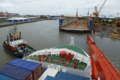 Leaving port in Bremerhaven